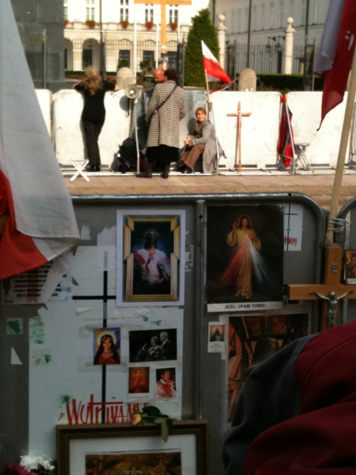 The Divine Mercy image appears on the shrine erected by the 'cross controversy' protesters outside the presidential palace, Warsaw, in the wake of the Smolensk crash, 2010.